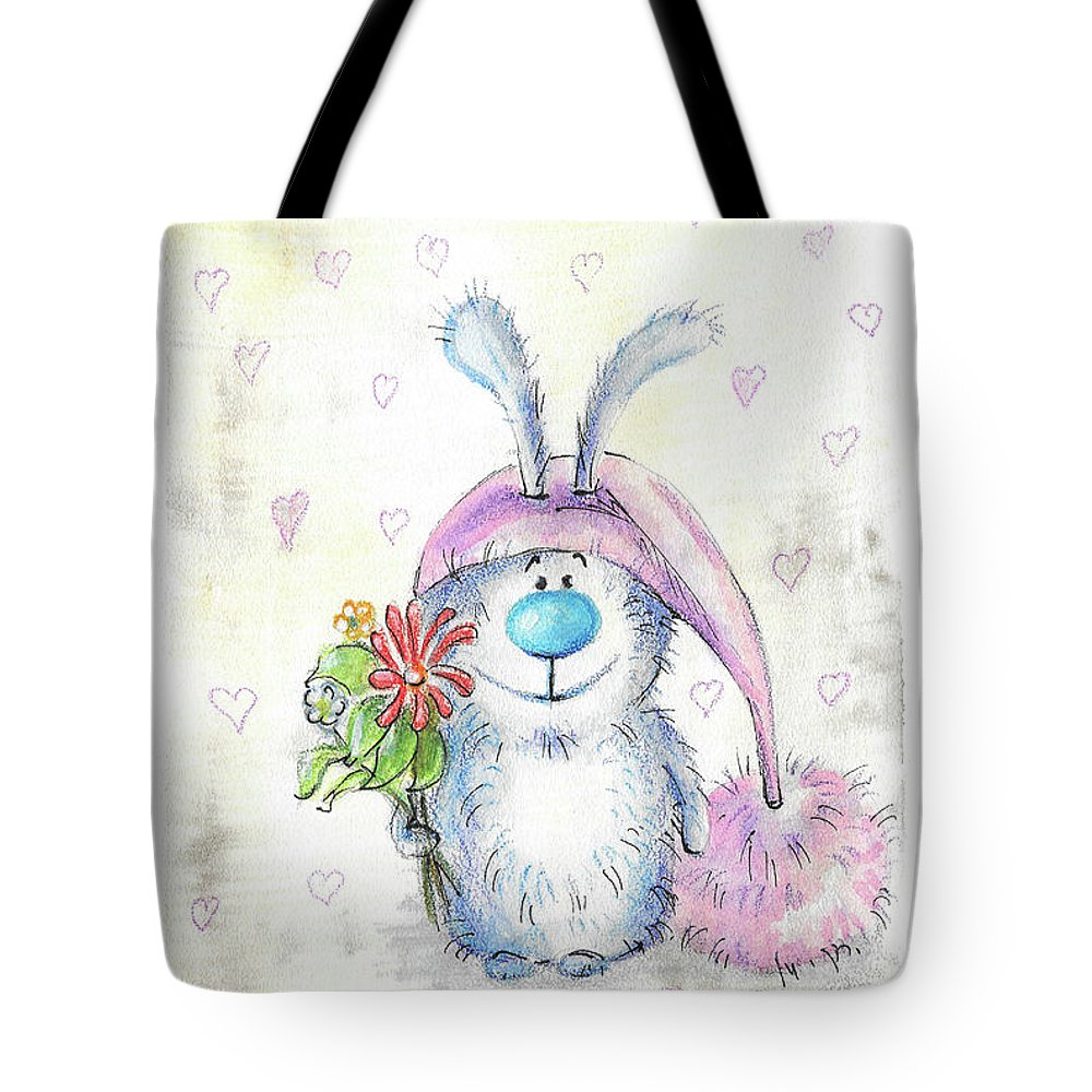 Bunny Tote Bag featuring the painting Bunny by Yana Sadykova