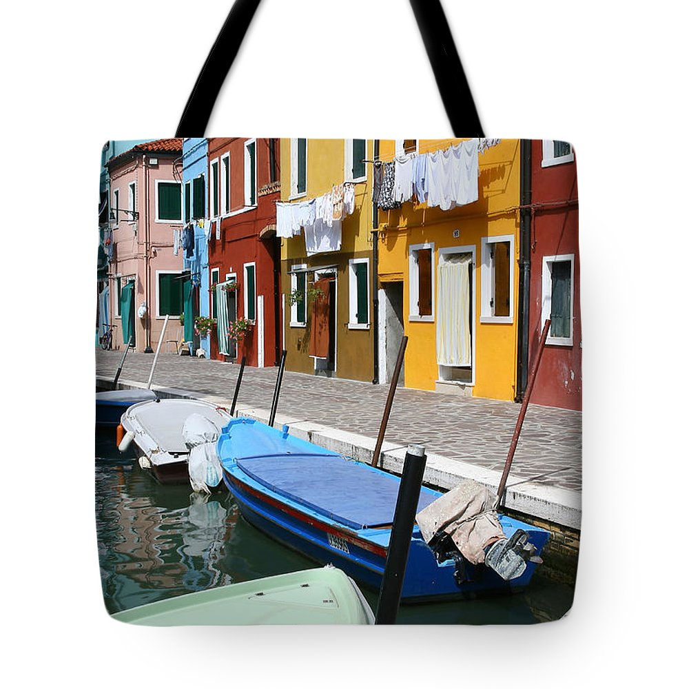 Burano Tote Bag featuring the photograph Burano Corner With Laundry by Donna Corless