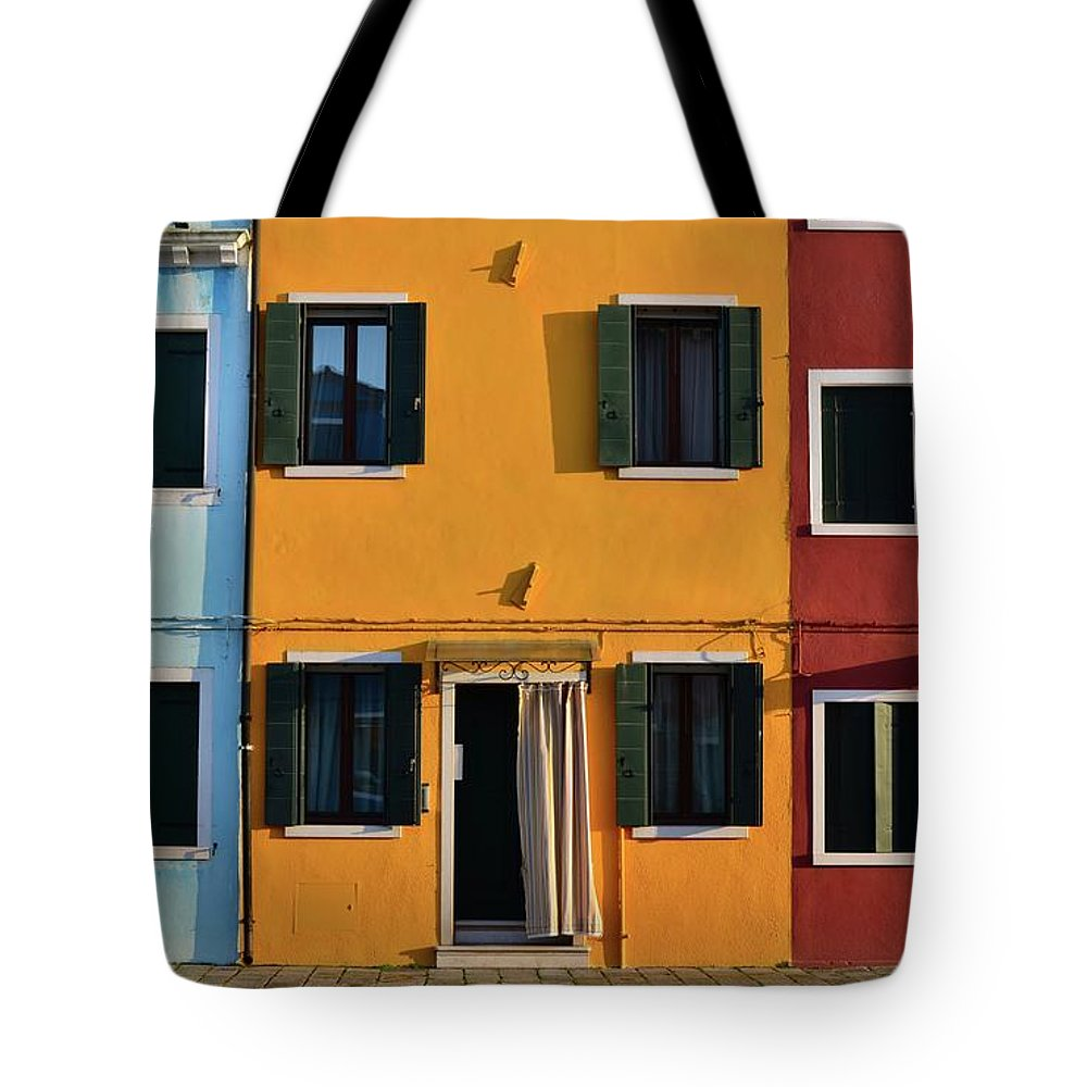 Burano Tote Bag featuring the photograph Burano Homes by Happy Home Artistry