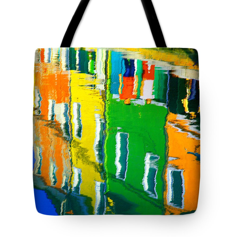 Burano Tote Bag featuring the pastel Burano Reflections by Donna Corless