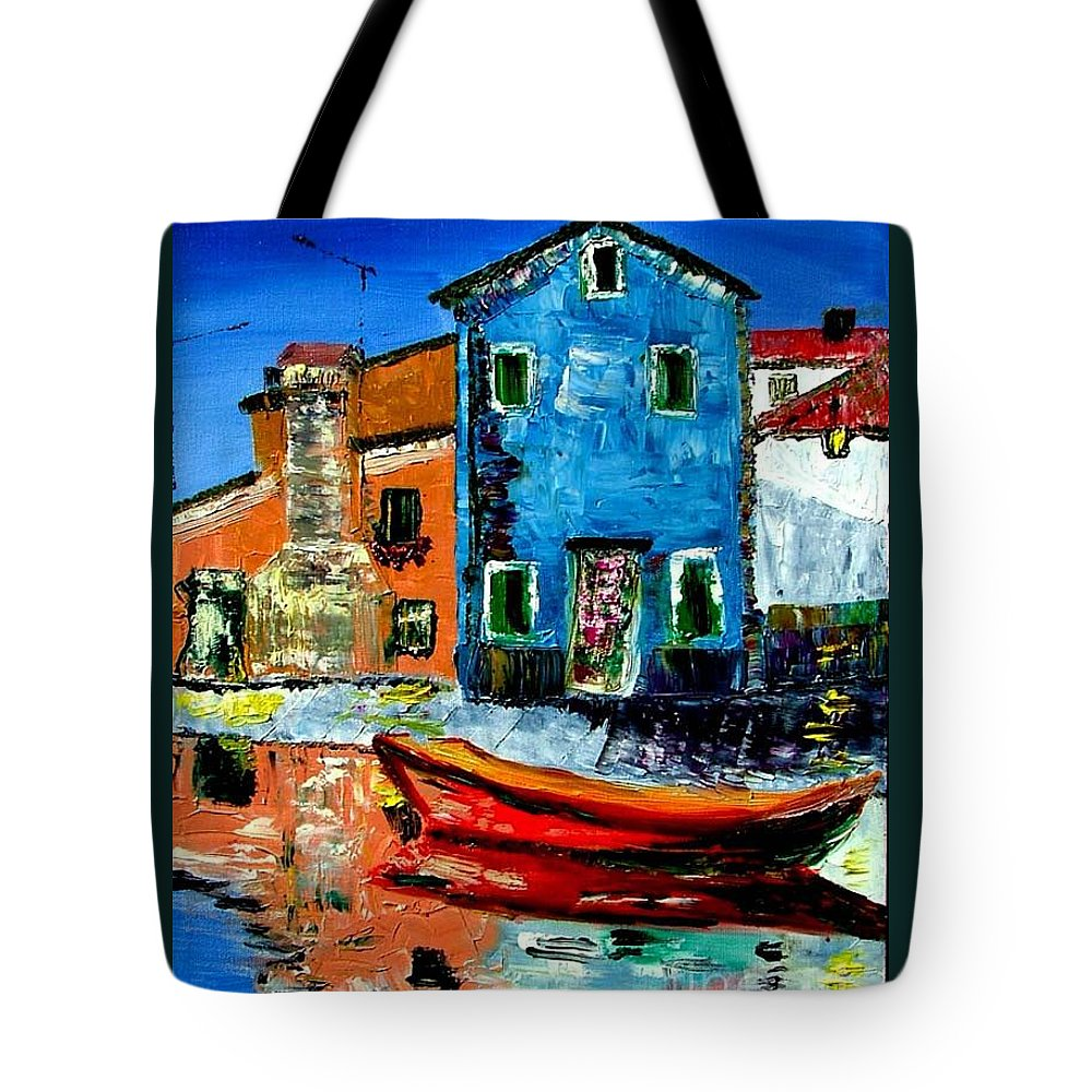 Italy Tote Bag featuring the painting Burano Reflections by Inna Montano