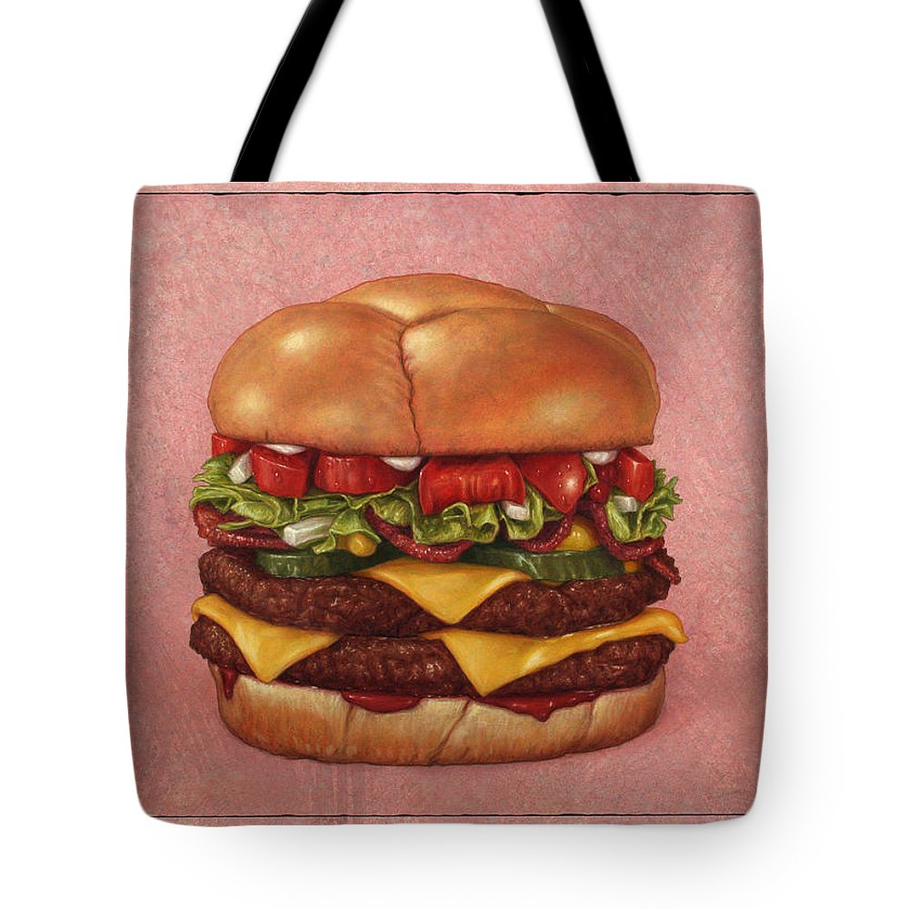 Burger Tote Bag featuring the painting Burger by James W Johnson