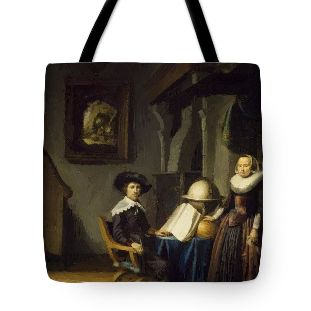 Burgomaster Tote Bag featuring the painting Burgomaster Hasselaar And His Wife by Dou Gerrit