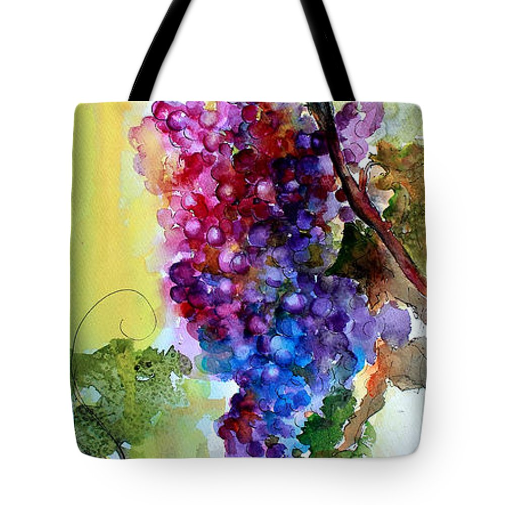 Grapes Tote Bag featuring the painting Wine Grapes Burgundy in Sunlight by Ginette Callaway