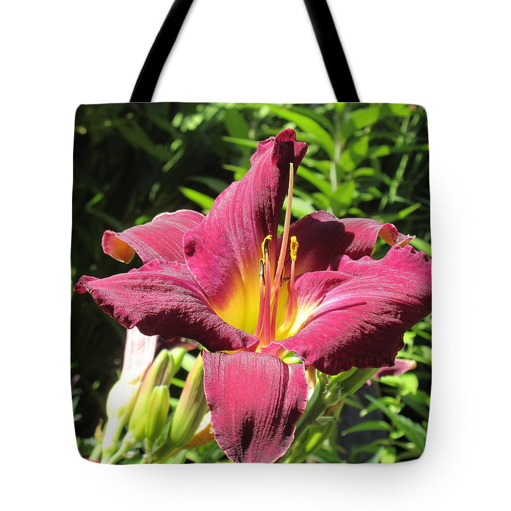 Flower Tote Bag featuring the photograph Burgundy Lily by Emily Boltinghouse
