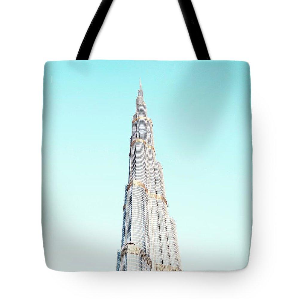 Dubai Tote Bag featuring the photograph Burj Khalifa by Happy Home Artistry