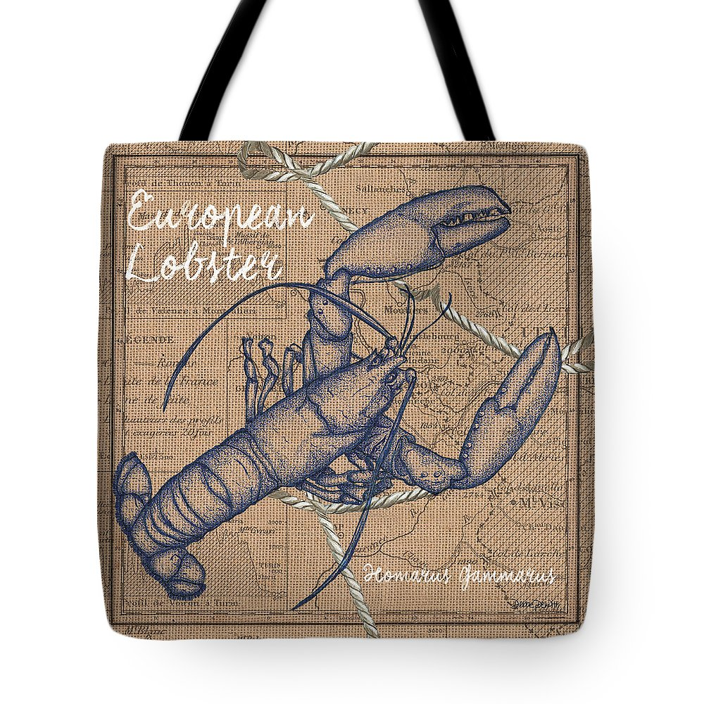 Lobster Tote Bag featuring the mixed media Burlap Lobster by Debbie DeWitt