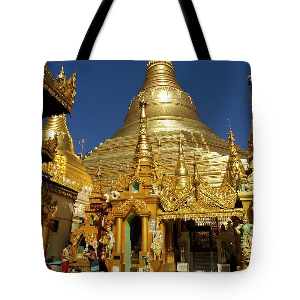 Asia Tote Bag featuring the photograph Burma's Golden Pagoda by Michele Burgess