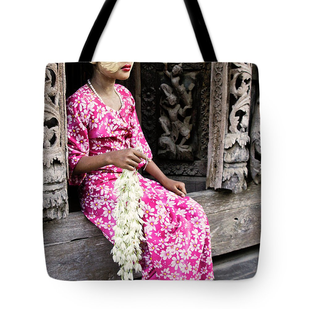 075burma's Golden Pagodaasia Tote Bag featuring the photograph Burmese Flower Vendor by Michele Burgess