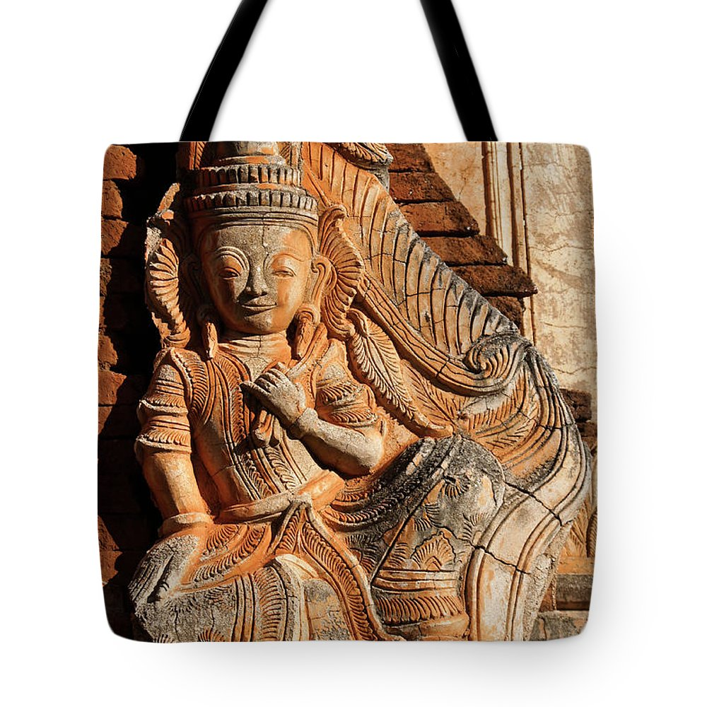 Asia Tote Bag featuring the photograph Burmese Pagoda Sculpture by Michele Burgess