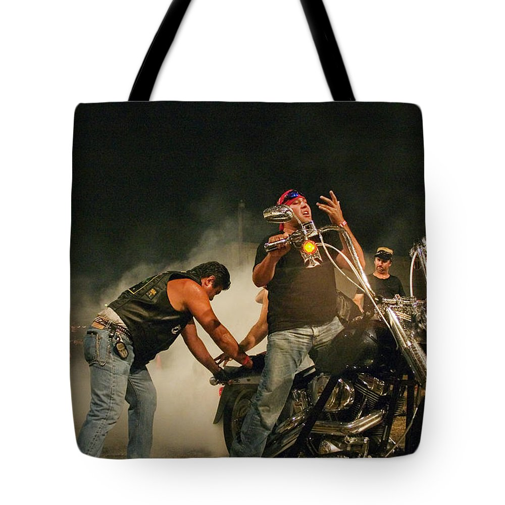 Biker Tote Bag featuring the photograph Burn Out by Skip Hunt