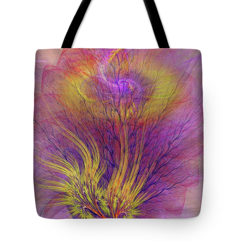 Burning Bush Tote Bag featuring the digital art Burning Bush by John Beck