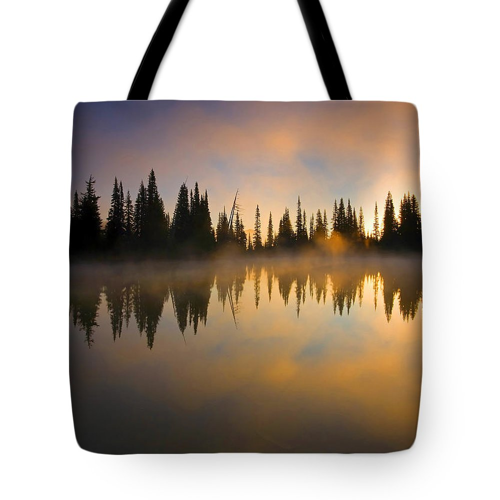 Lake Tote Bag featuring the photograph Burning Dawn by Mike Dawson