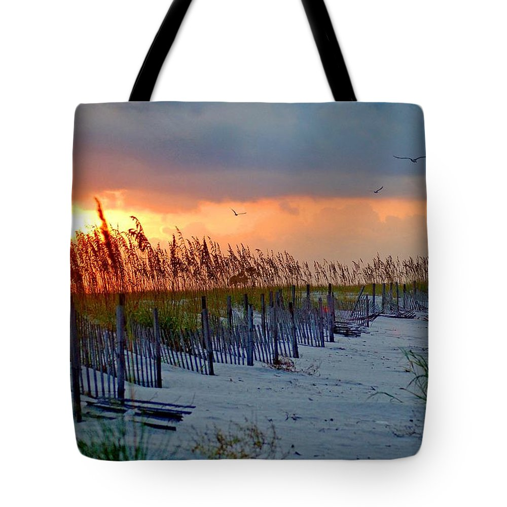 Pelican Tote Bag featuring the painting Burning Grasses And The Fence by Michael Thomas