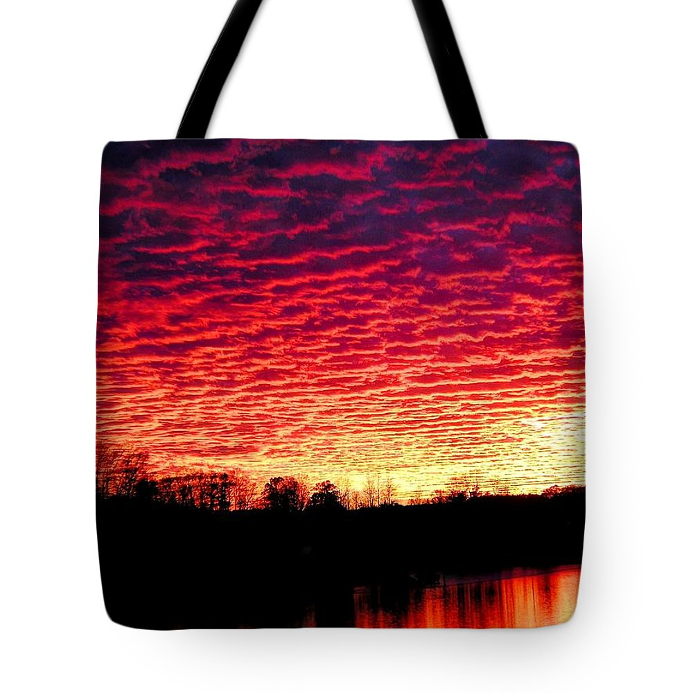 Sunset Tote Bag featuring the photograph Burning Lake by Andrew Webb