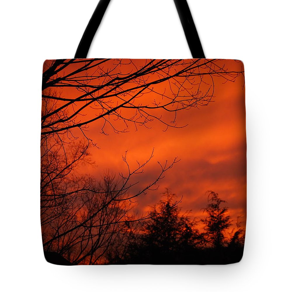 Landscape Tote Bag featuring the photograph Burning Sky by Lori Tambakis