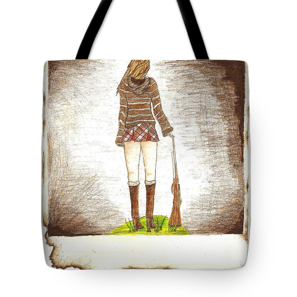 Girl Tote Bag featuring the drawing Burnt From A Far by Syvanah Bennett