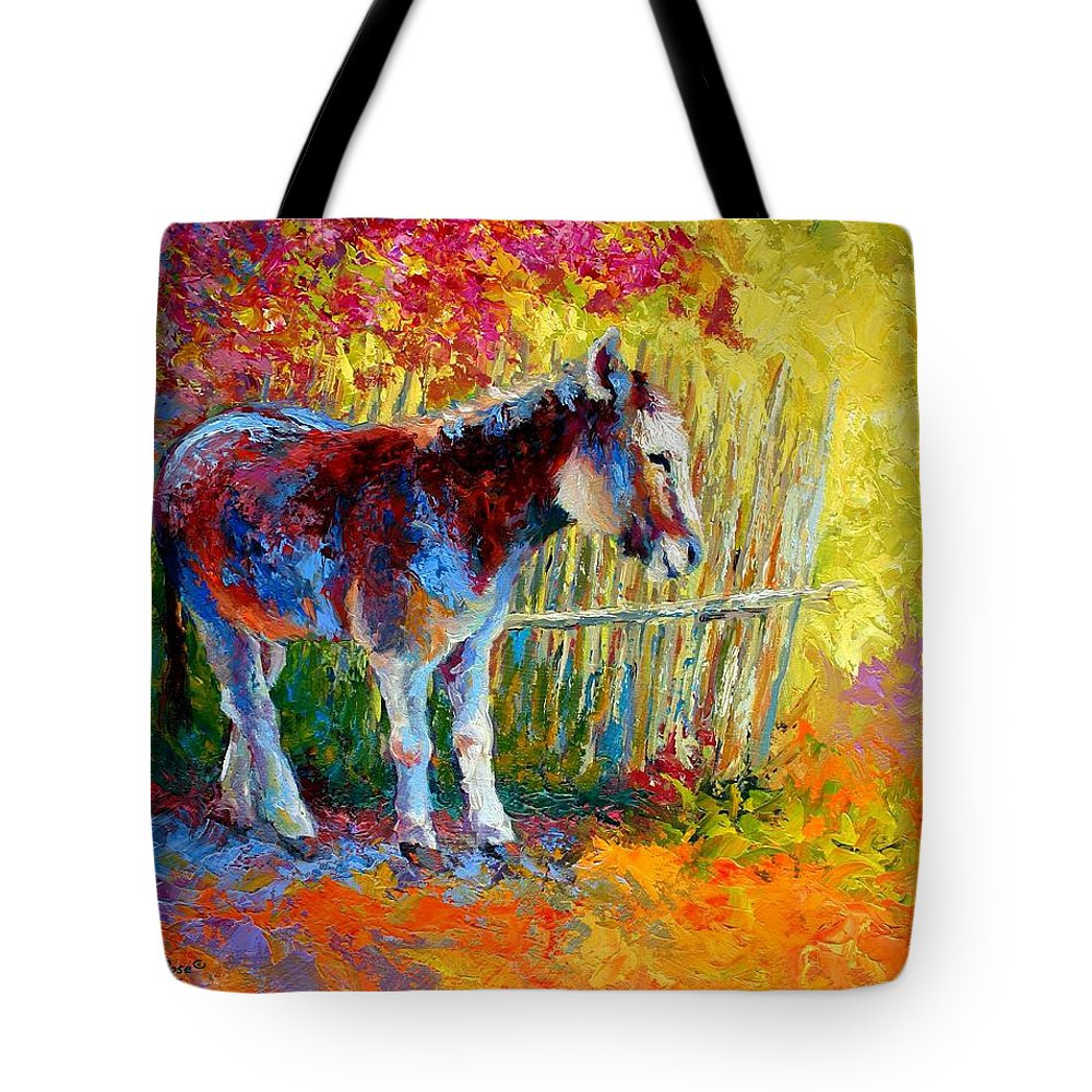 Western Tote Bag featuring the painting Burro And Bouganvillia by Marion Rose