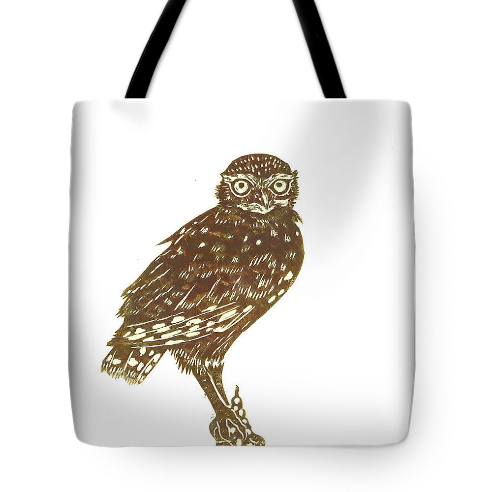 Bird Tote Bag featuring the drawing Burrowing Owl On Mullein by Dawn Senior-Trask