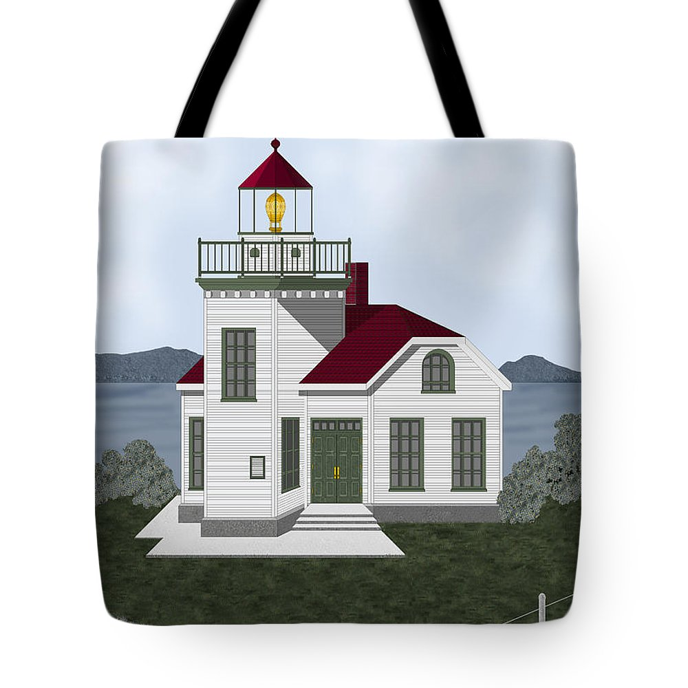 Burrows Island Lighthouse Tote Bag featuring the painting Burrows Island Lighthouse by Anne Norskog