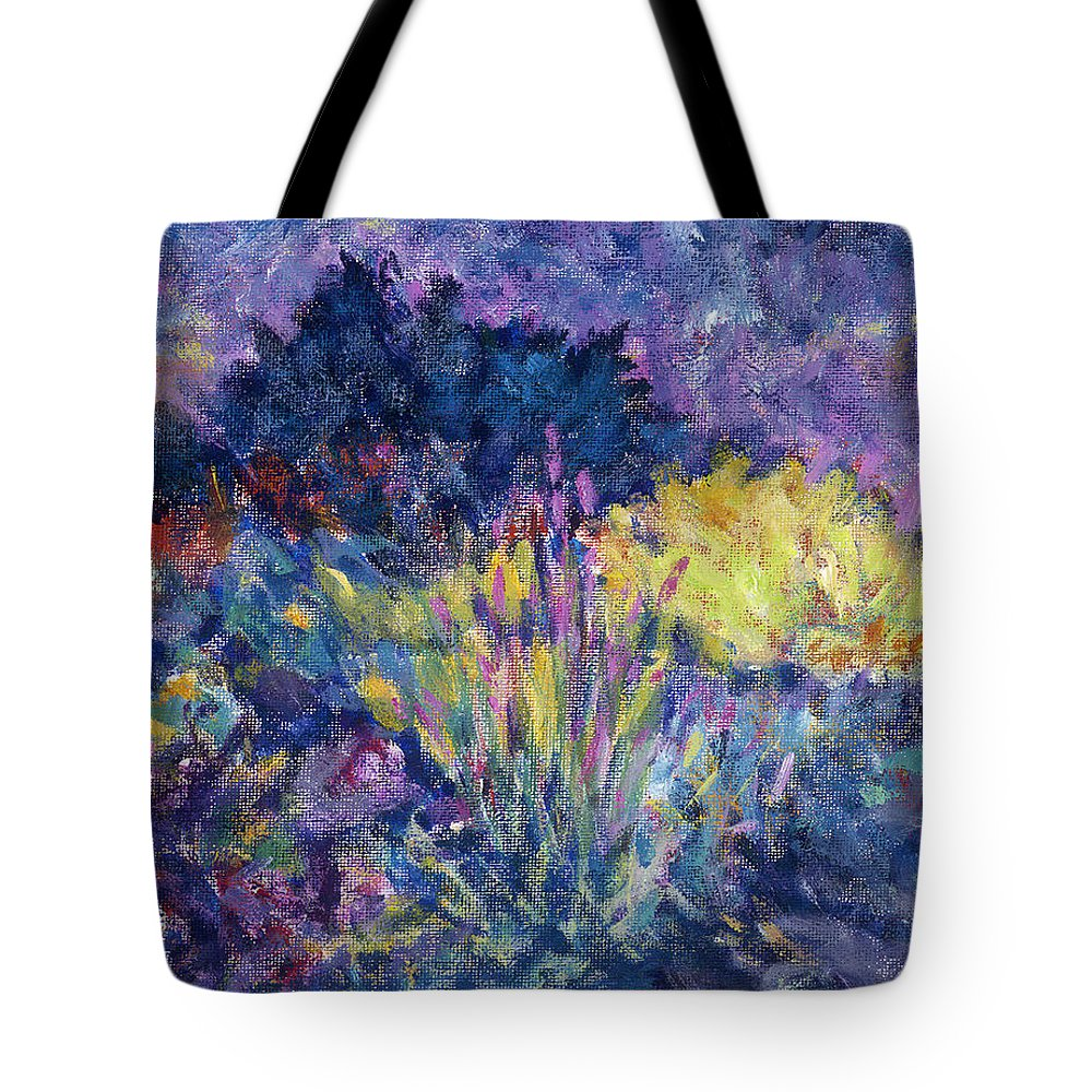 Impressionism Tote Bag featuring the painting Burst Of Color-last Night In Monets Gardens by Tara Moorman