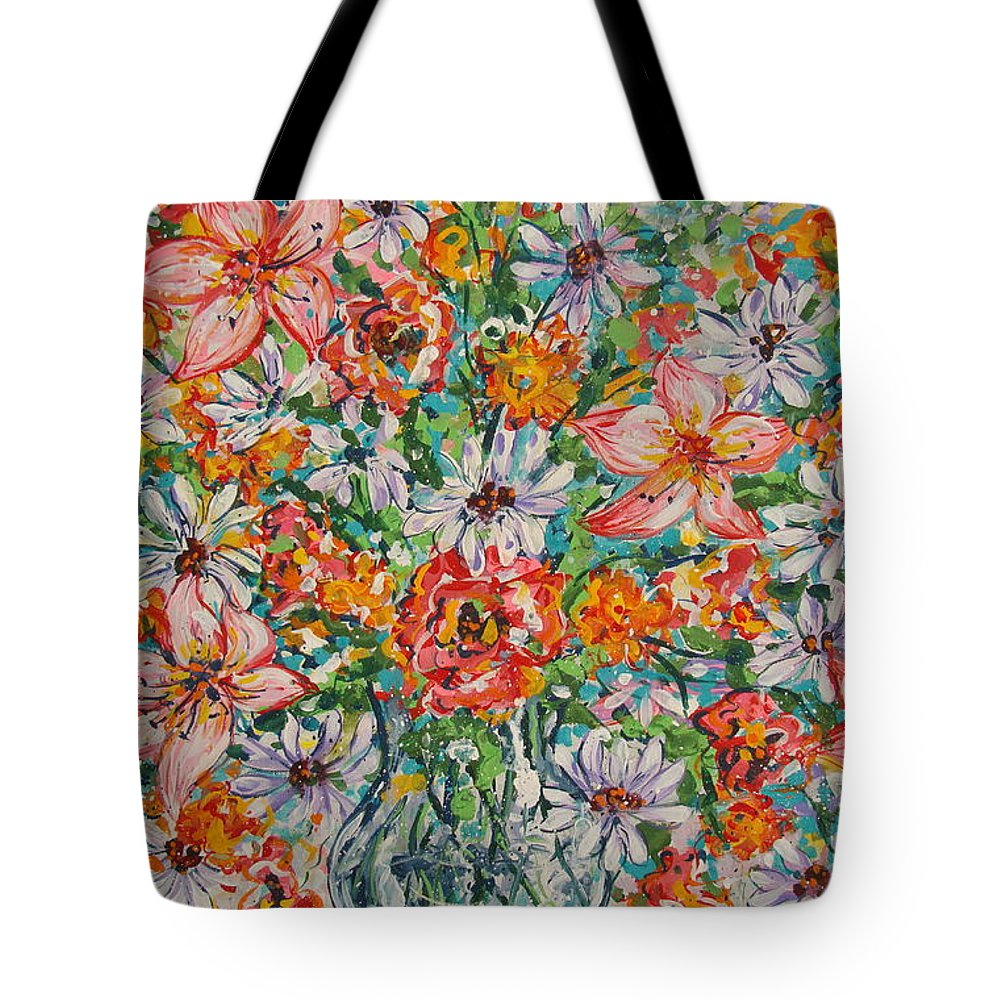 Flowers Tote Bag featuring the painting Burst Of Flowers by Leonard Holland