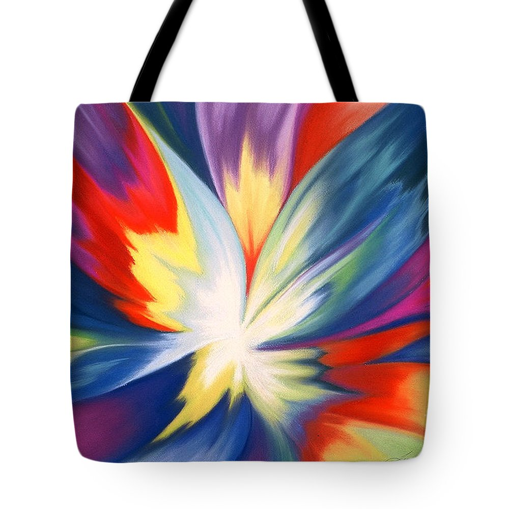 Abstract Tote Bag featuring the painting Burst Of Joy by Lucy Arnold