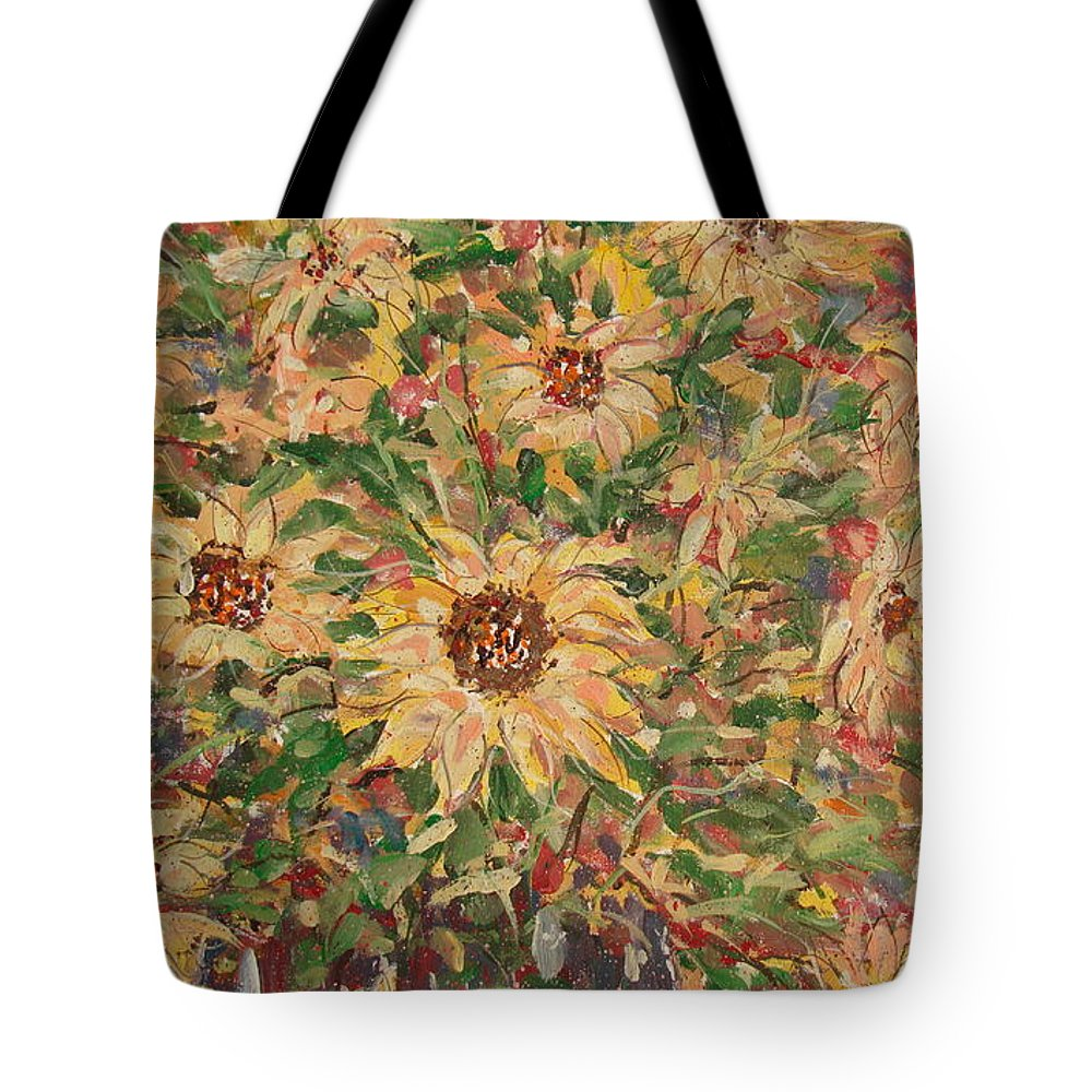 Flowers Tote Bag featuring the painting Burst Of Sunflowers. by Leonard Holland