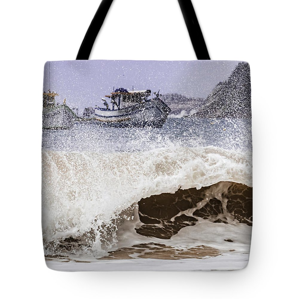 Beach Tote Bag featuring the photograph Burst Of Waves by Adalcir Bar