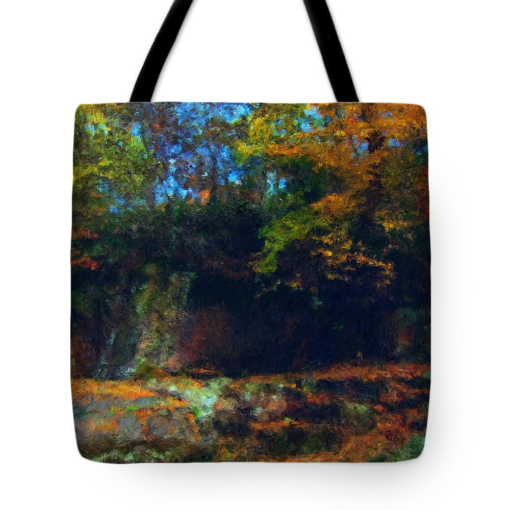 Autumn Tote Bag featuring the digital art Bursting Autumn Cheer by Stephen Lucas