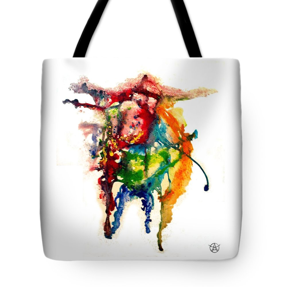 Abstract Tote Bag featuring the painting Bus by Agneta Holmqvist