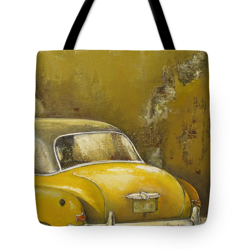 Havana Tote Bag featuring the painting Buscando La Sombra by Tomas Castano