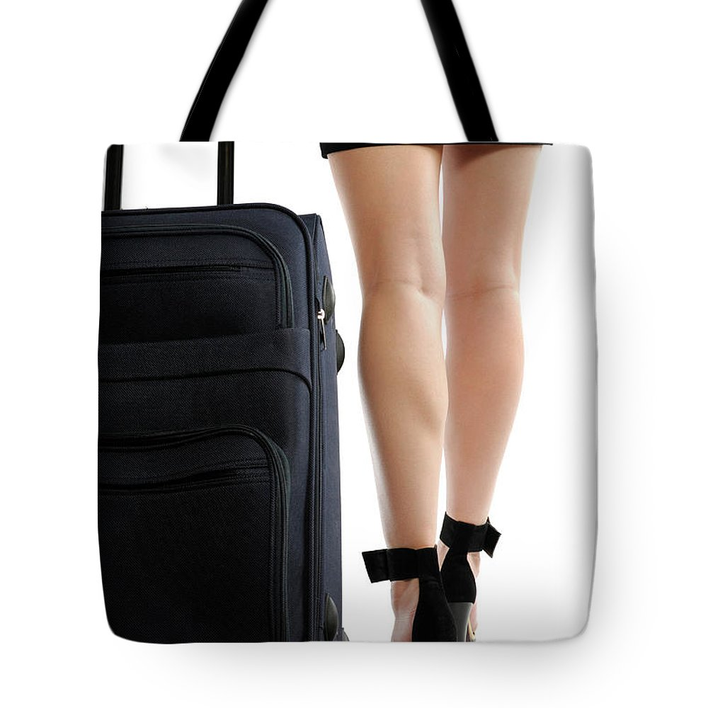 Journey Tote Bag featuring the photograph Businesswoman With A Trunk by Oleksiy Maksymenko