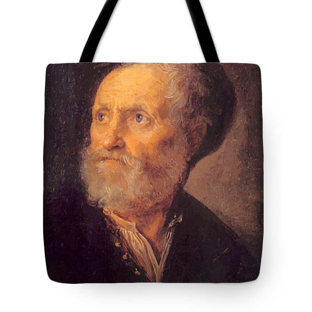Bust Tote Bag featuring the painting Bust Of A Man 1645 by Dou Gerrit