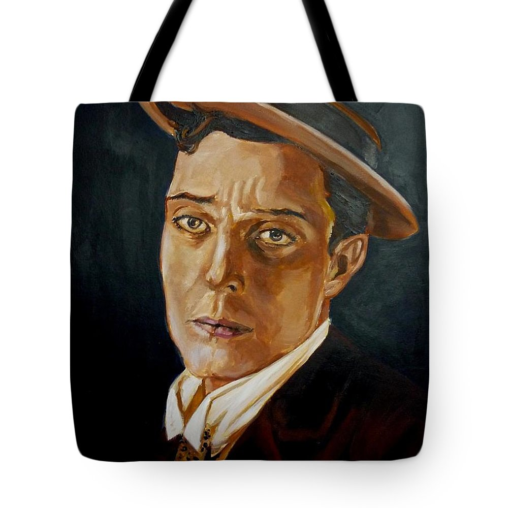 Comedy Tote Bag featuring the painting Buster Keaton Tribute by Bryan Bustard