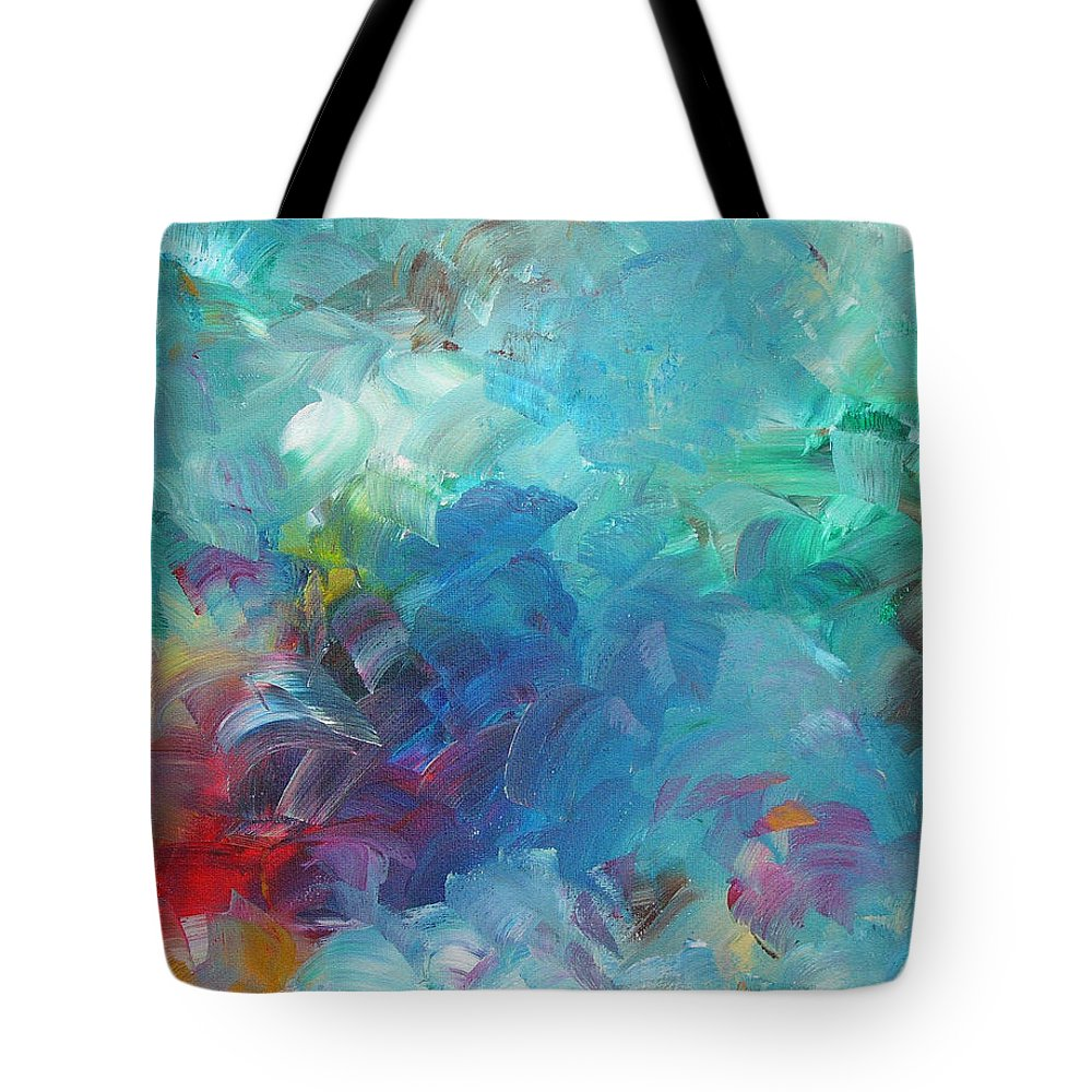 Abstract Tote Bag featuring the painting Busy Day by Peggy King