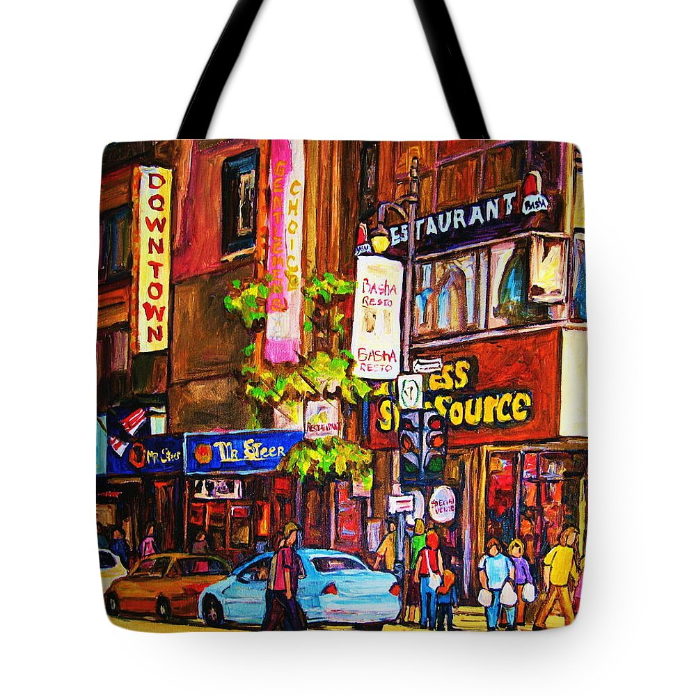Cityscape Tote Bag featuring the painting Busy Downtown Street by Carole Spandau