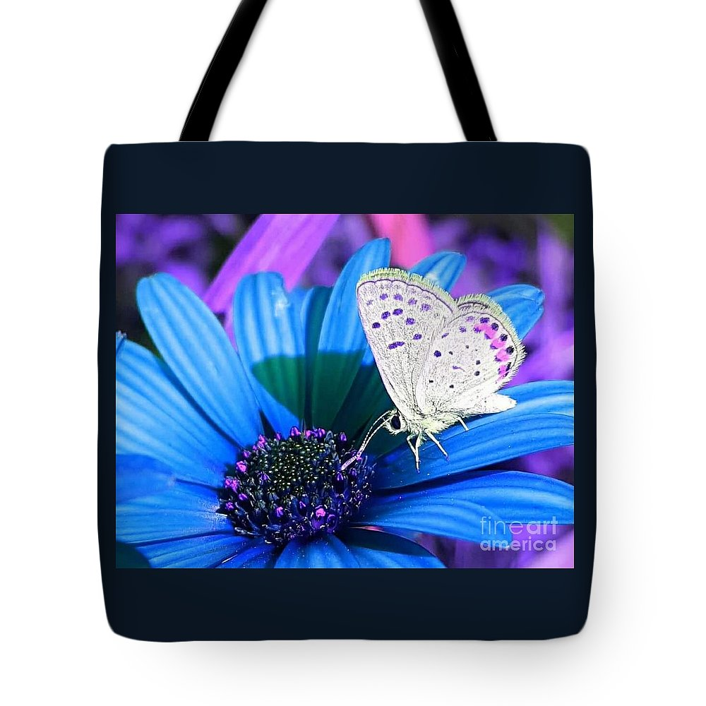 Busy; Little; Butterfly; Flower' Flowers; Insect; Nature Tote Bag featuring the photograph Busy Little Butterfly by Alicia Ingram
