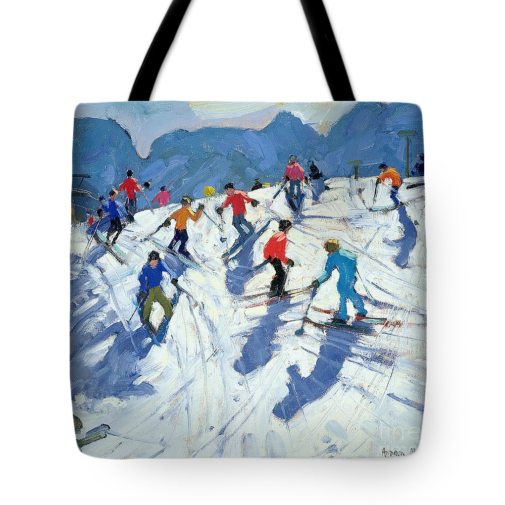 Skiers Tote Bag featuring the painting Busy Ski Slope by Andrew Macara