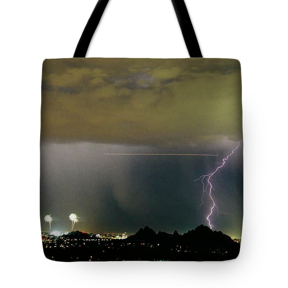 Fireworks Tote Bag featuring the photograph Busy Sky by Cathy Franklin
