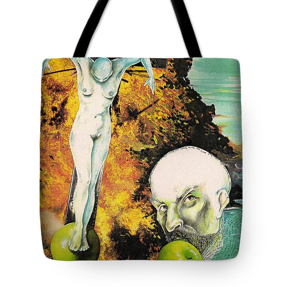 Lust Temptation Crucifix Hell Inferno Heaven Water Woman Sex Lust Apple Fire Tote Bag featuring the mixed media But For Lust... by Veronica Jackson