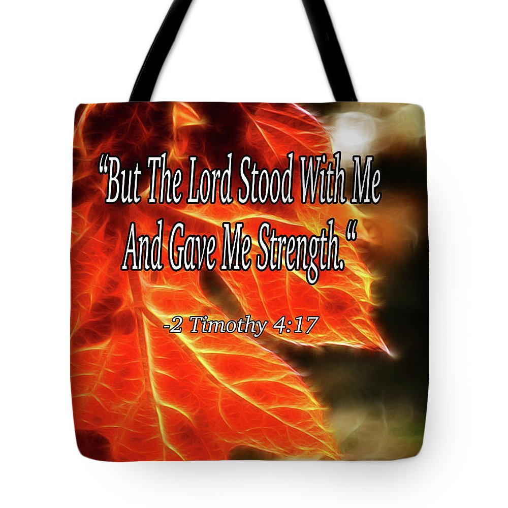 Bible Tote Bag featuring the mixed media But The Lord Stood With Me by Lisa Stanley