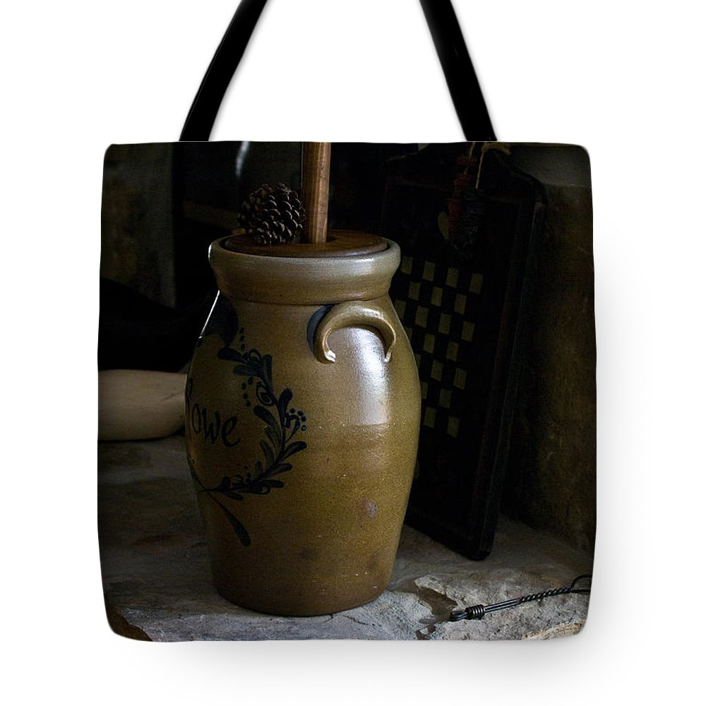 Butter Tote Bag featuring the photograph Butter Churn On Hearth Still Life by Douglas Barnett