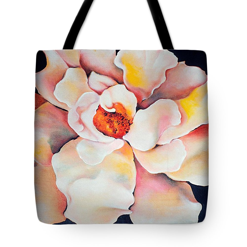 Large Floral Tote Bag featuring the painting Butter Flower by Jordana Sands