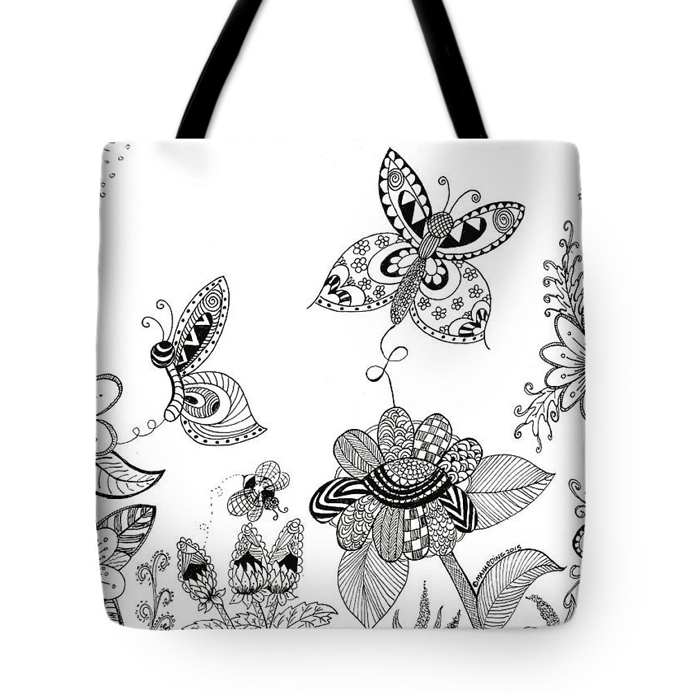 Tote bag drawing - Flowers Tote Bag Featuring The Drawing Butterflies And Bees Zen Doodle Art By Mary Anne