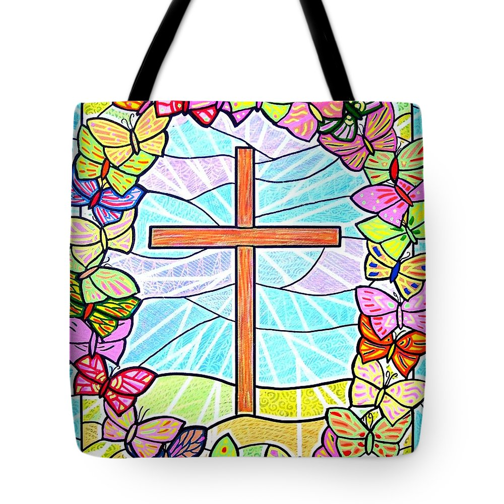 Easter Tote Bag featuring the painting Butterflies And Cross by Jim Harris