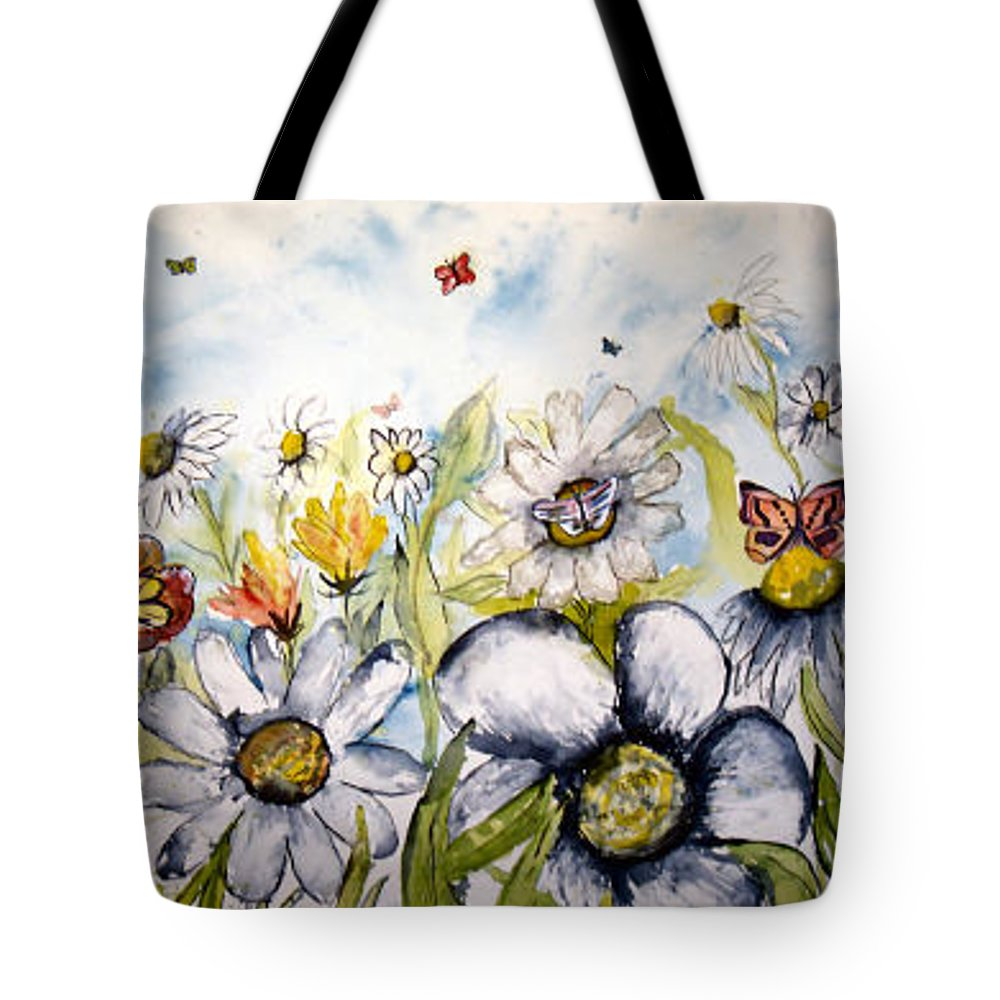 Butterfly Tote Bag featuring the painting Butterflies And Flowers by Derek Mccrea
