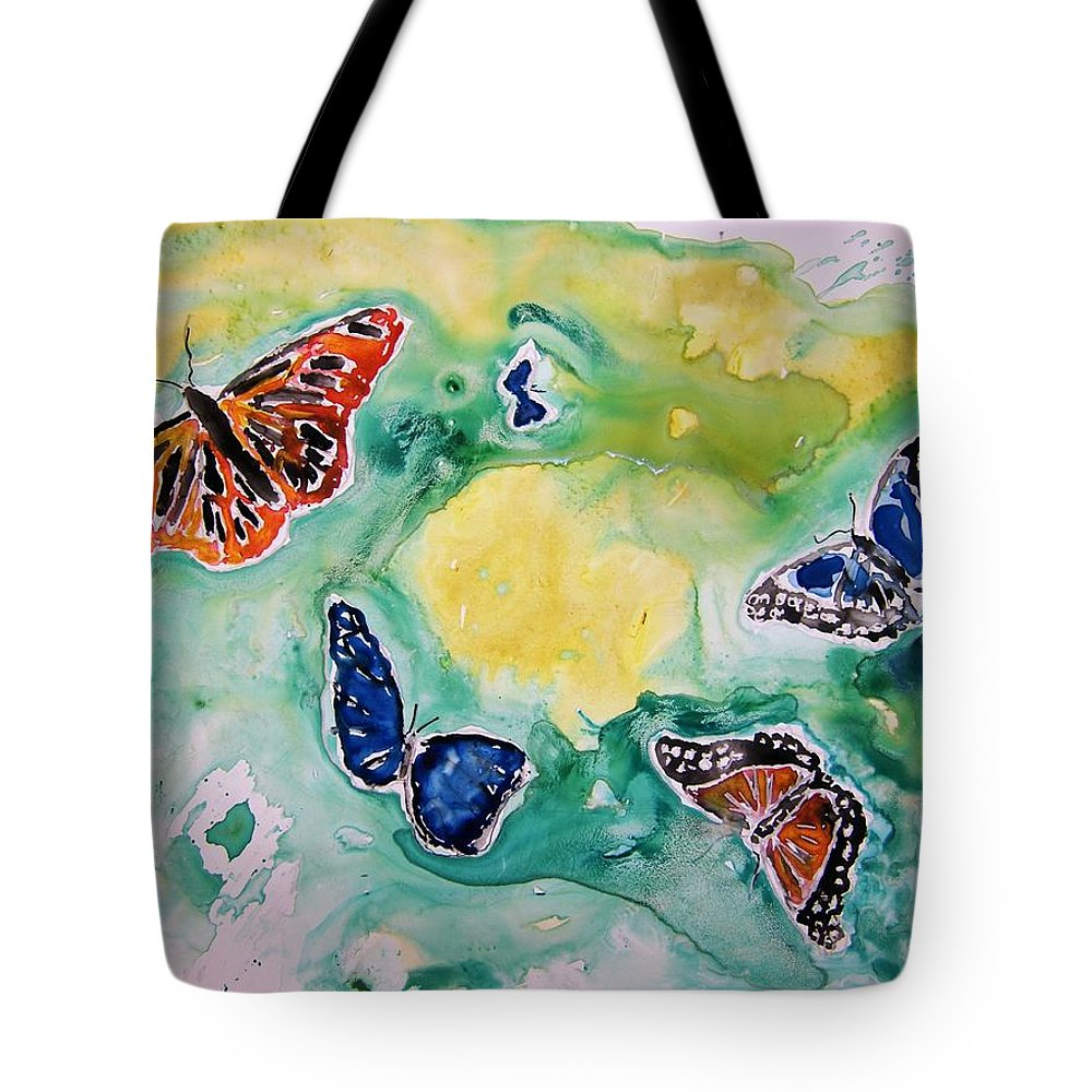 Watercolour Tote Bag featuring the painting Butterflies by Derek Mccrea
