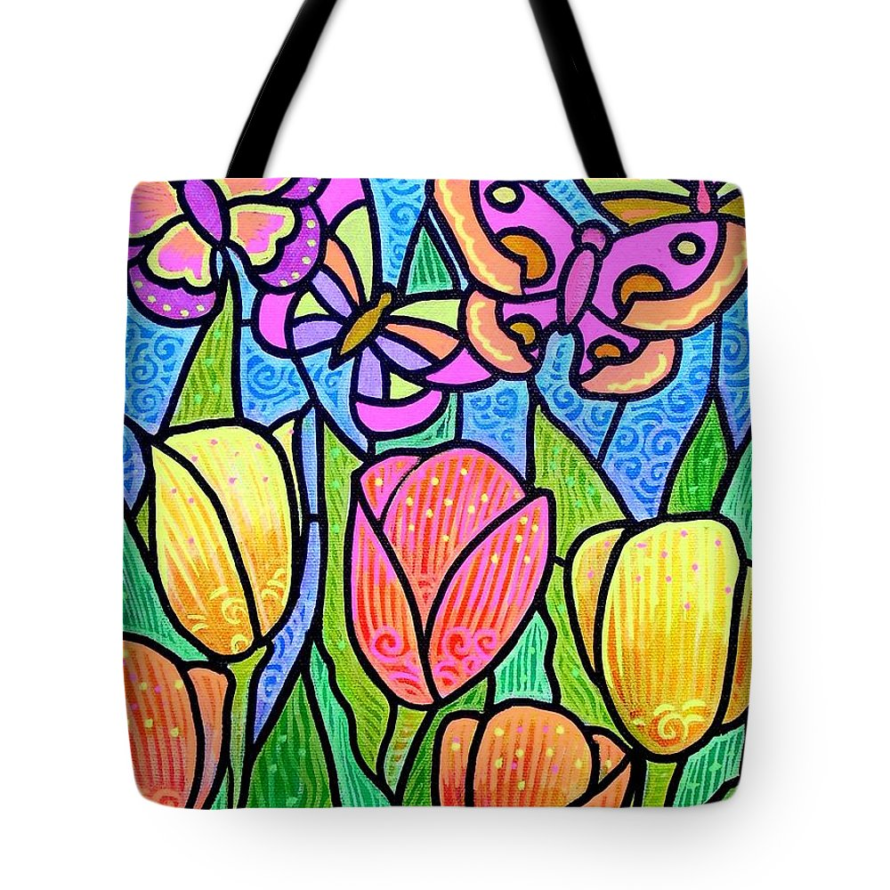 Butterflies Tote Bag featuring the painting Butterflies In The Tulip Garden by Jim Harris