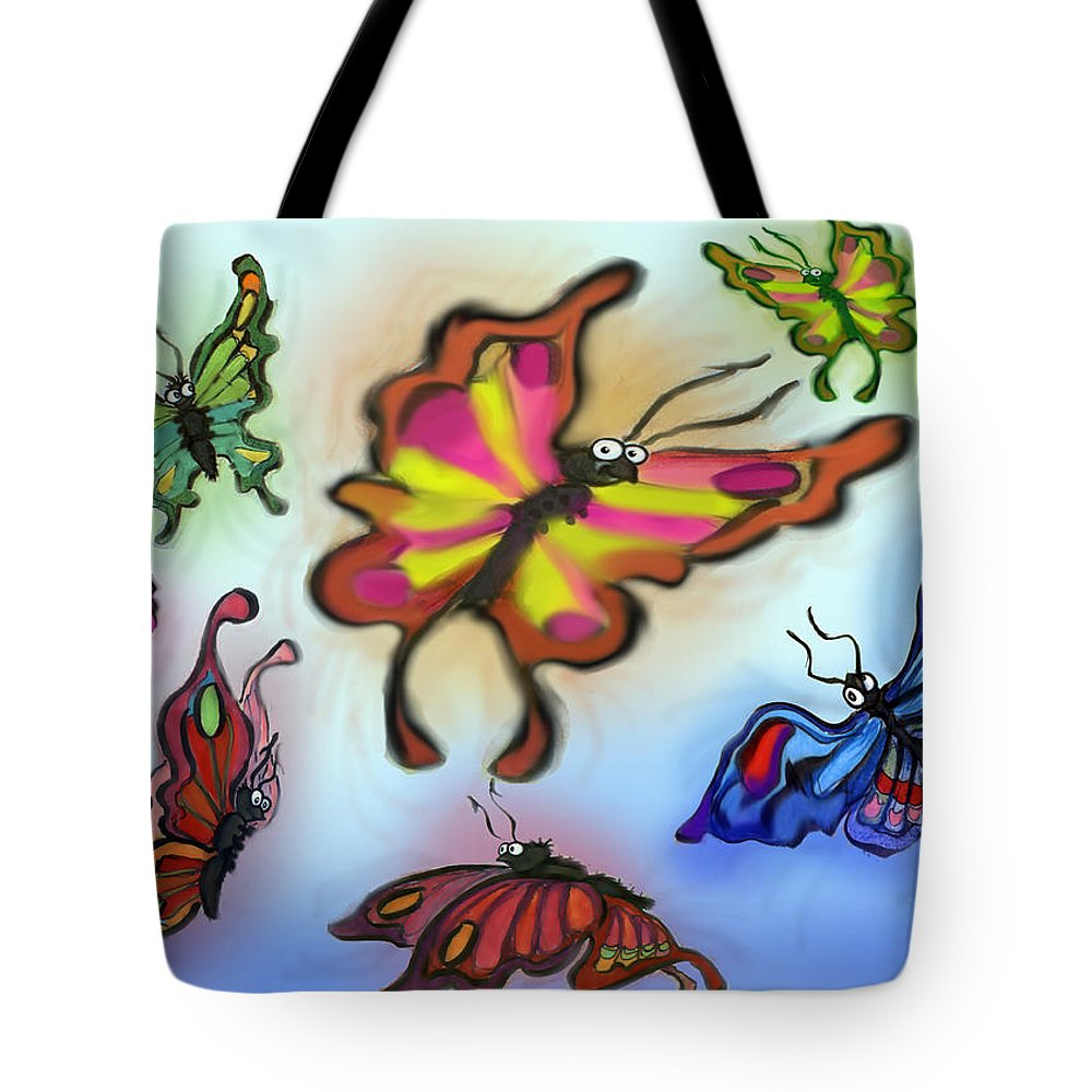 Butterfly Tote Bag featuring the digital art Butterflies by Kevin Middleton